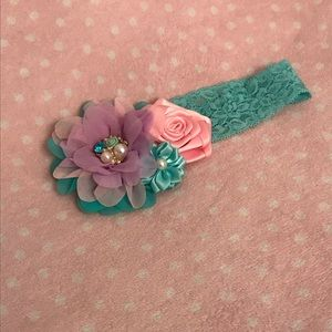 Aqua purple pink baby headband